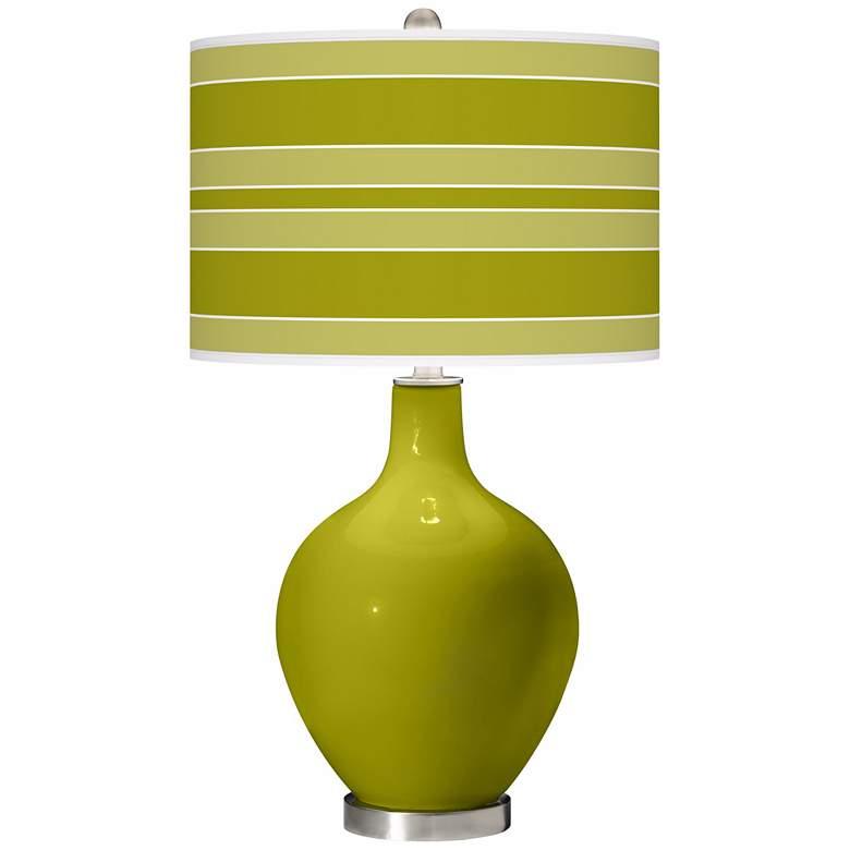 Olive Green Bold Stripe Ovo Table Lamp