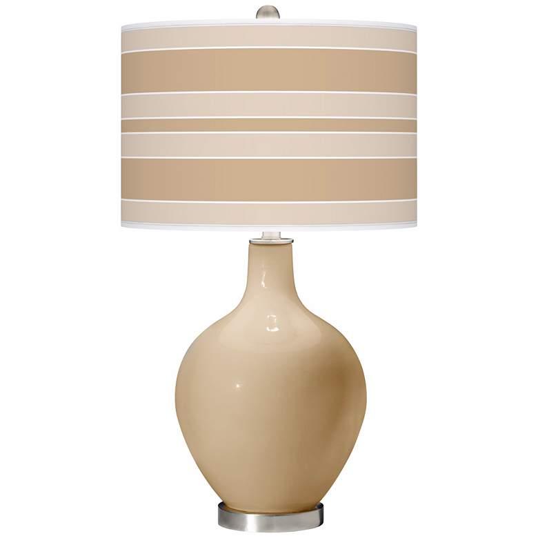 Colonial Tan Bold Stripe Ovo Table Lamp