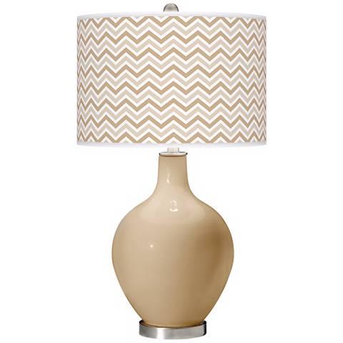 Colonial Tan Narrow Zig Zag Ovo Table Lamp