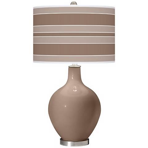 Mocha Bold Stripe Ovo Table Lamp