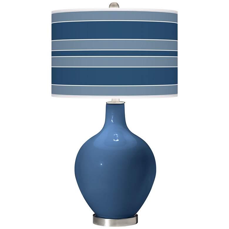 Regatta Blue Bold Stripe Ovo Table Lamp