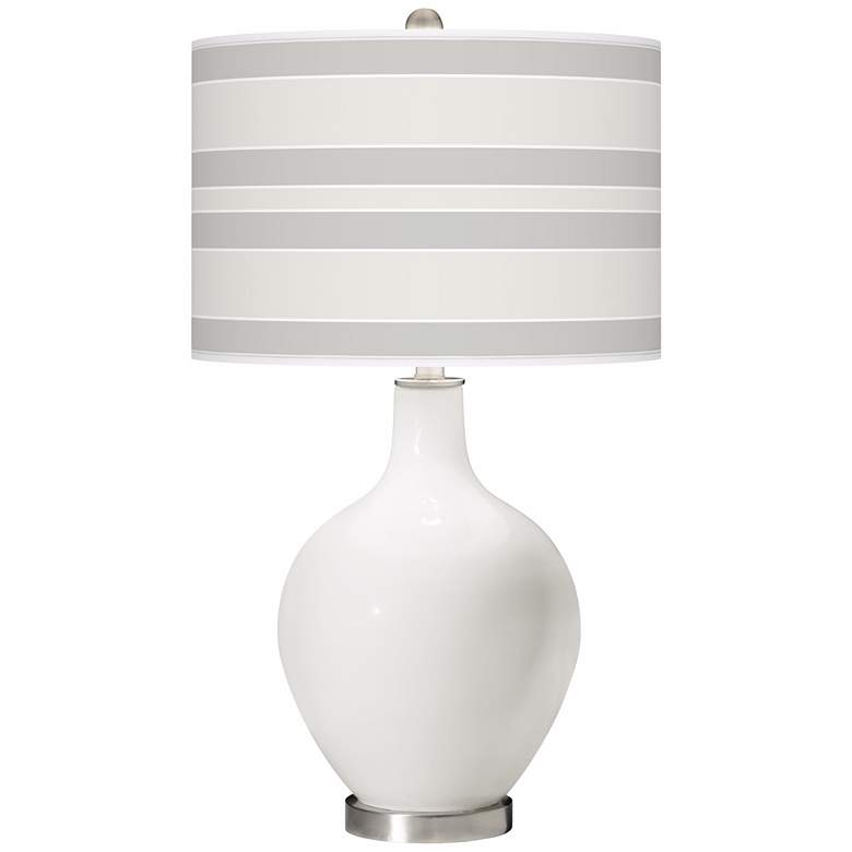 Winter White Bold Stripe Ovo Table Lamp