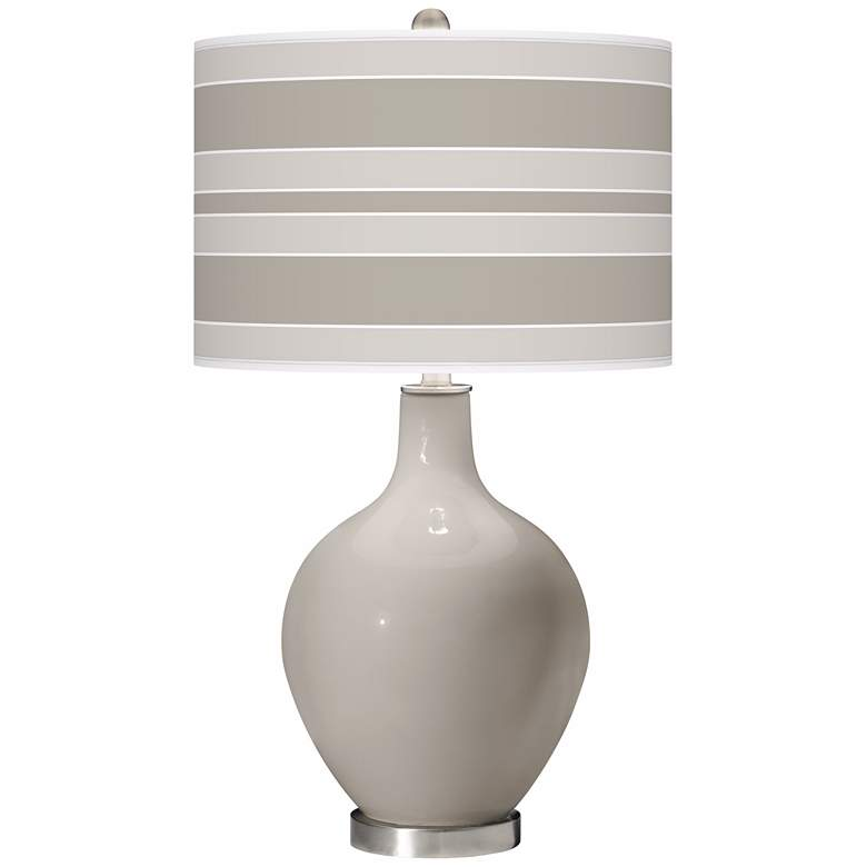 Requisite Gray Bold Stripe Ovo Table Lamp