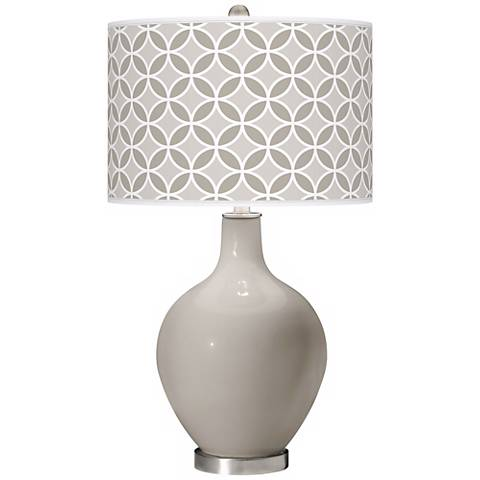 Requisite Gray Circle Rings Ovo Table Lamp