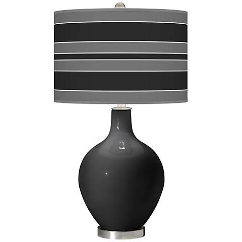 Tricorn Black Bold Stripe Ovo Table Lamp