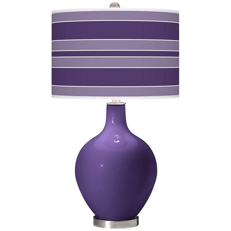 Izmir Purple Bold Stripe Ovo Table Lamp