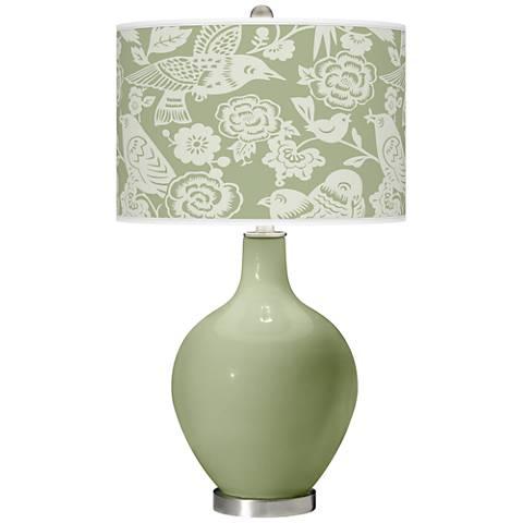 Majolica Green Aviary Ovo Table Lamp