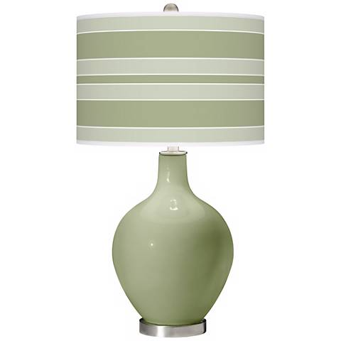 Majolica Green Bold Stripe Ovo Table Lamp