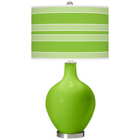 Neon Green Bold Stripe Ovo Table Lamp
