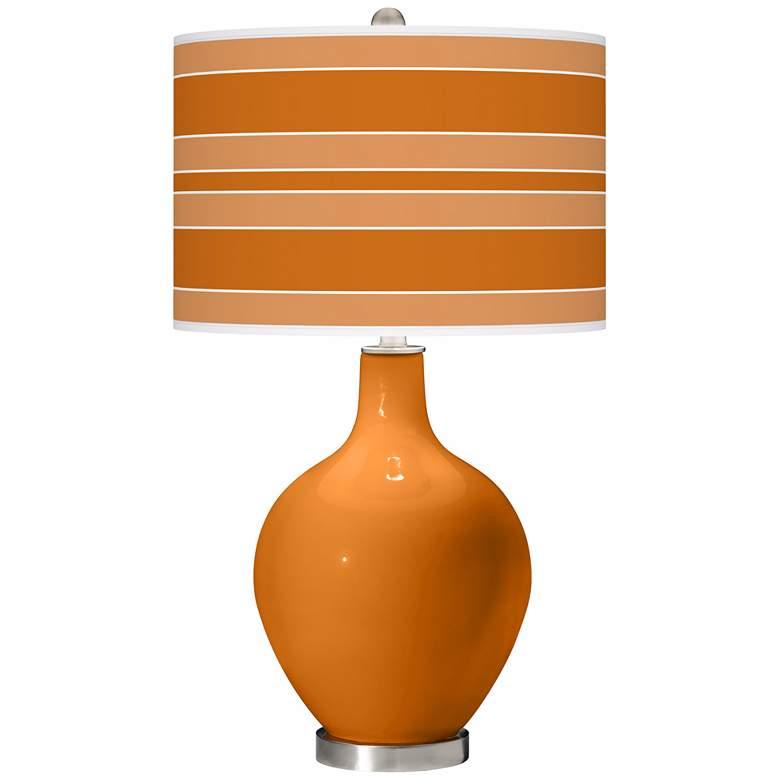 Cinnamon Spice Bold Stripe Ovo Table Lamp
