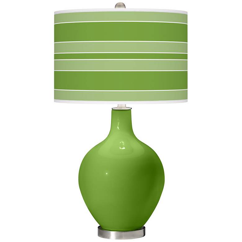 Rosemary Green Bold Stripe Ovo Table Lamp