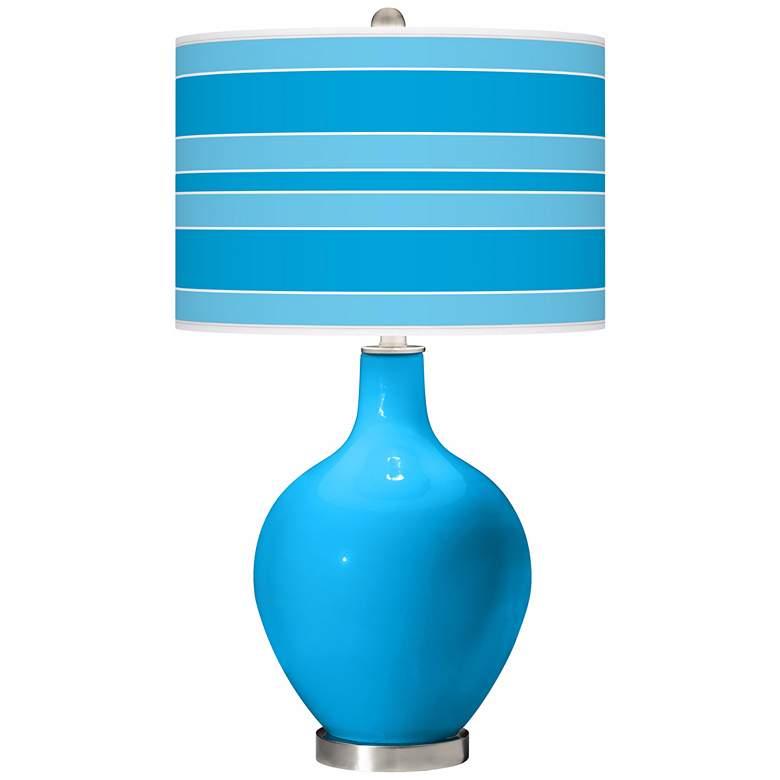 Sky Blue Bold Stripe Ovo Table Lamp