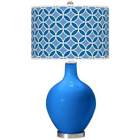 Royal Blue Circle Rings Ovo Table Lamp