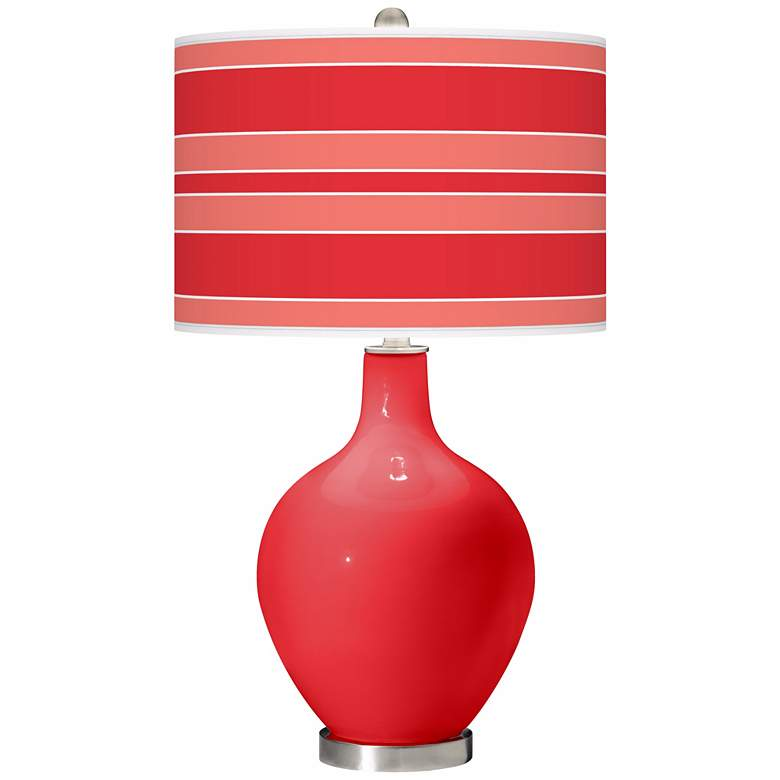 Poppy Red Bold Stripe Ovo Table Lamp