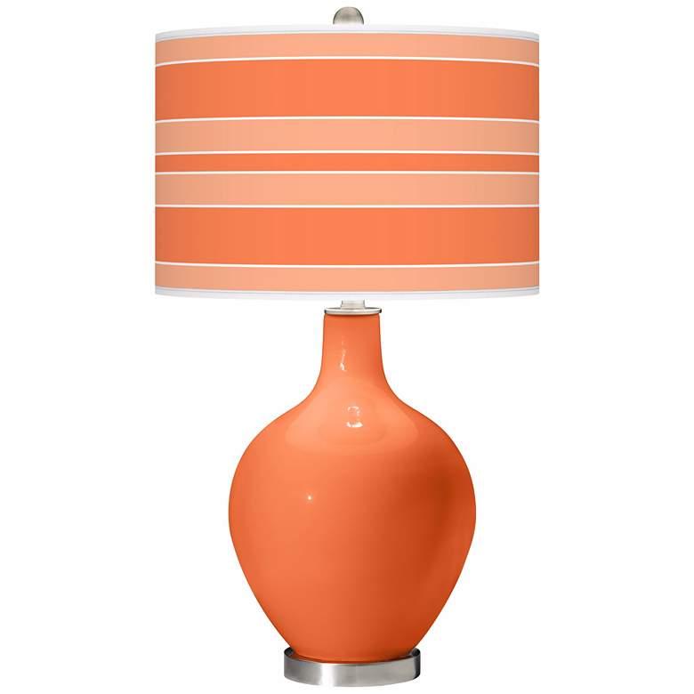 Nectarine Bold Stripe Ovo Table Lamp