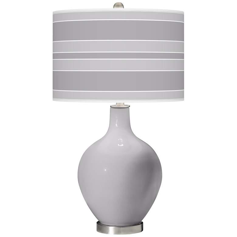 Swanky Gray Bold Stripe Ovo Table Lamp