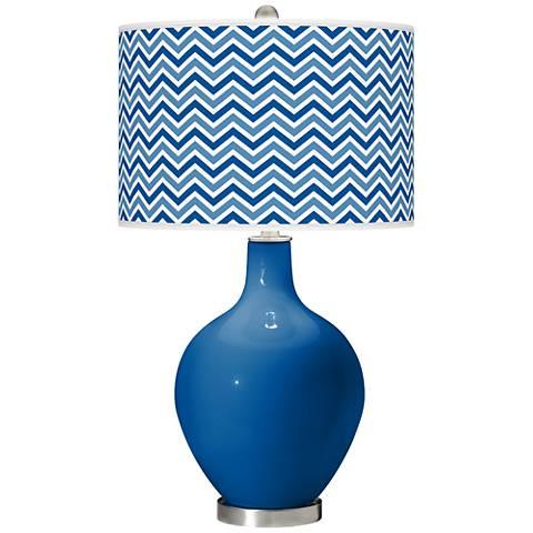 Hyper Blue Narrow Zig Zag Ovo Table Lamp
