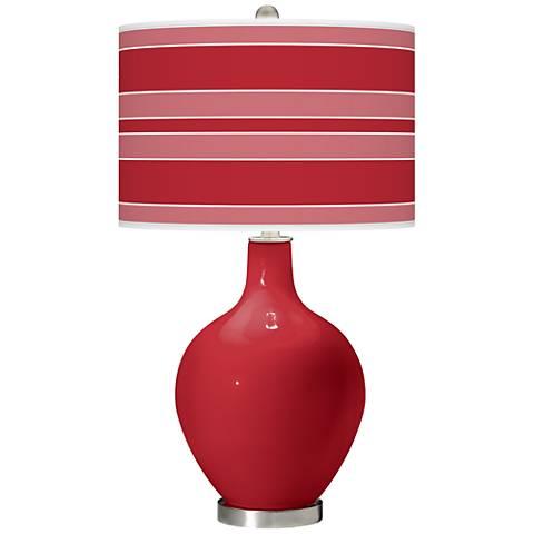 Ribbon Red Bold Stripe Ovo Table Lamp