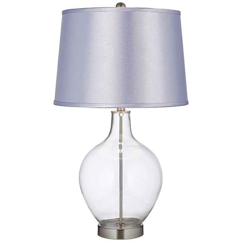 Clear Glass Fillable Satin Periwinkle Shade Ovo Table Lamp