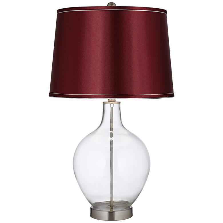 Clear Glass Fillable Satin Merlot Shade Ovo Table Lamp