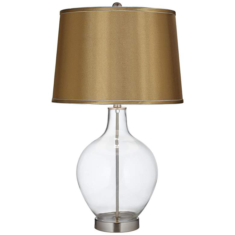 Clear Glass Fillable Satin Gold Shade Ovo Table Lamp