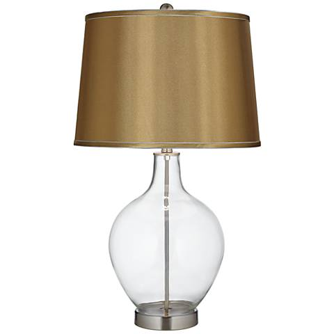 Satin Gold Shade Clear Fillable Ovo Table Lamp