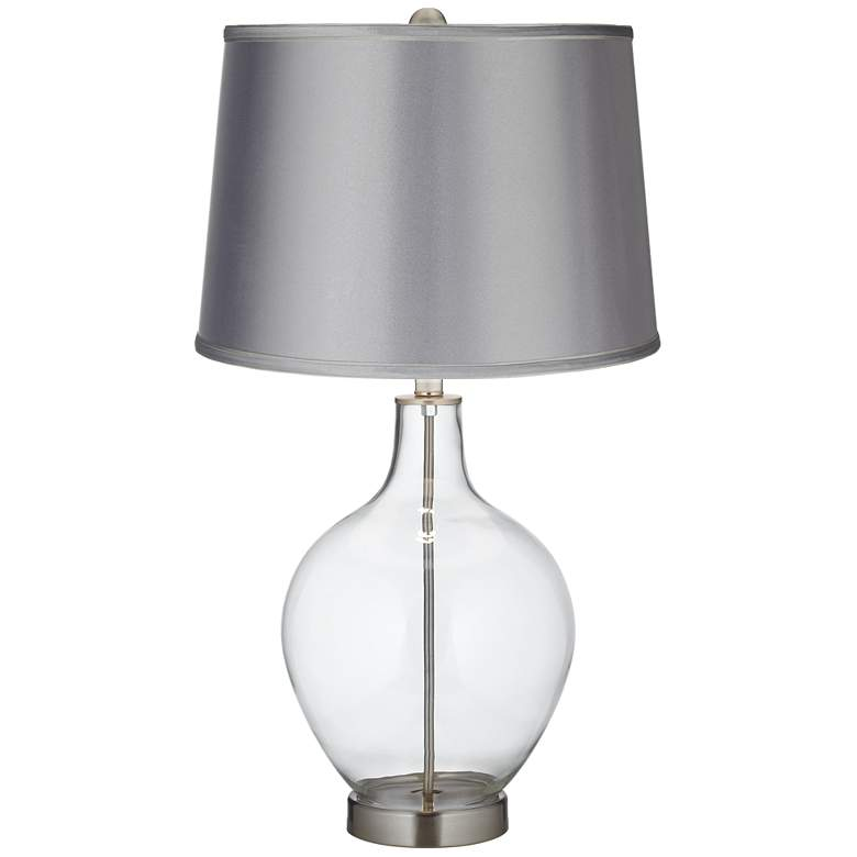 Clear Glass Fillable Satin Light Gray Shade Ovo Table Lamp