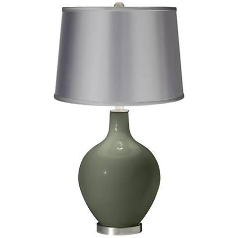 Deep Lichen Green - Satin Light Gray Shade Ovo Table Lamp