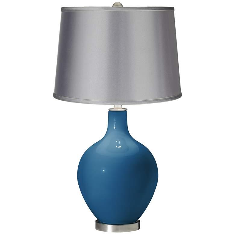 Mykonos Blue - Satin Light Gray Shade Ovo Table Lamp