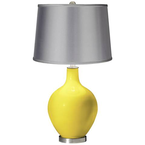 Lemon Twist - Satin Light Gray Shade Ovo Table Lamp