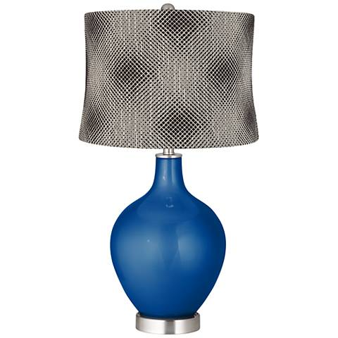 Ocean Metallic Black Pixels Shade Ovo Table Lamp