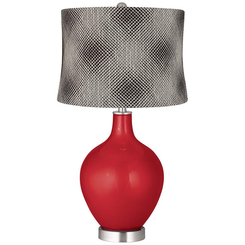 Sangria Metallic Black Pixels Shade Ovo Table Lamp