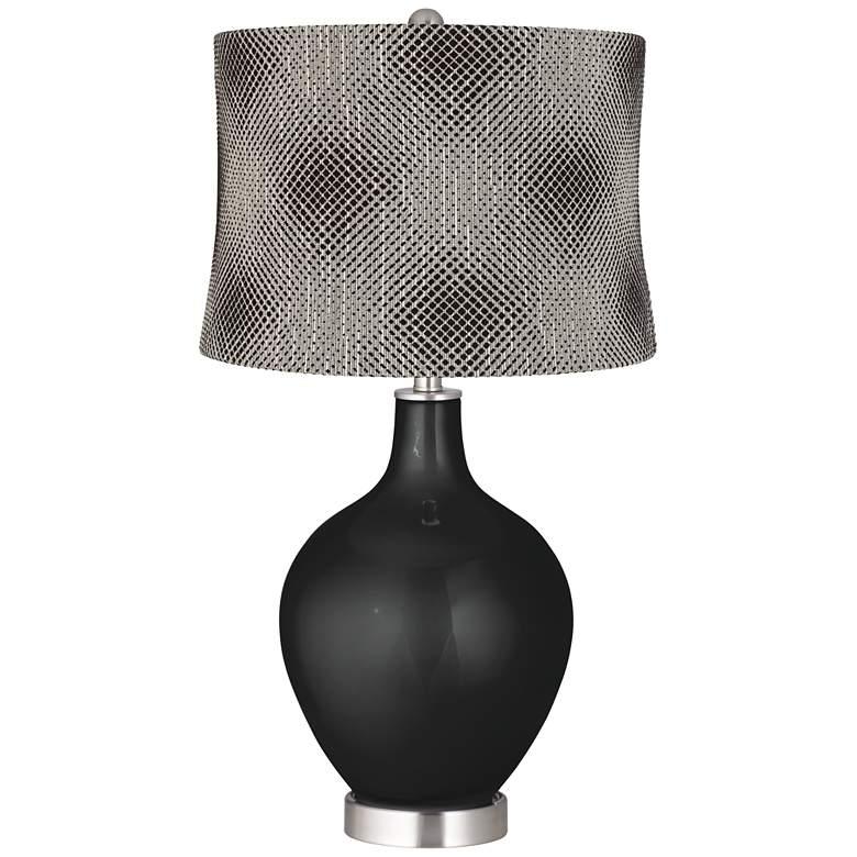 Caviar Metallic Black Pixels Shade Ovo Table Lamp