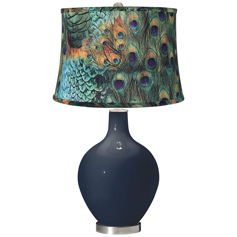 Naval Peacock Print Shade Ovo Table Lamp