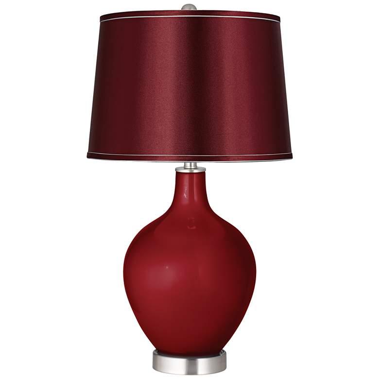 Cabernet Red Metallic Satin Merlot Shade Ovo Table Lamp