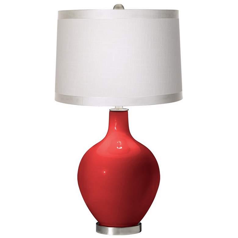 Cherry Tomato White Drum Shade Ovo Table Lamp