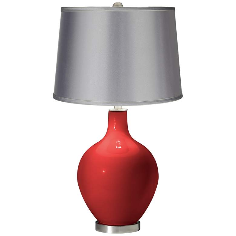 Cherry Tomato - Satin Light Gray Shade Ovo Table Lamp