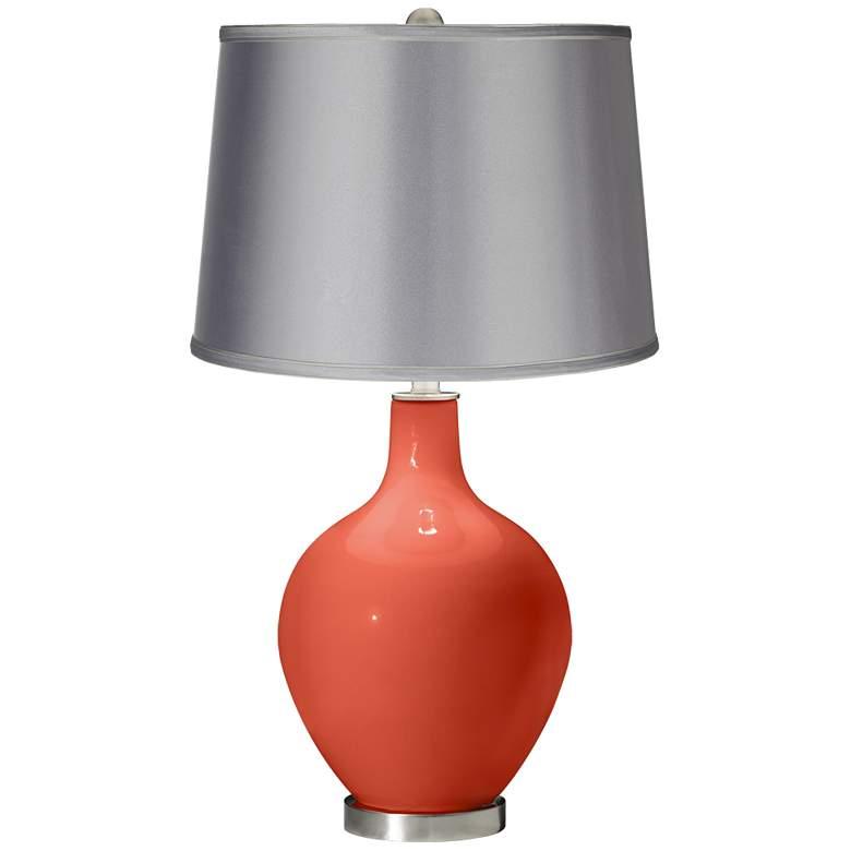 Daring Orange - Satin Light Gray Shade Ovo Table Lamp