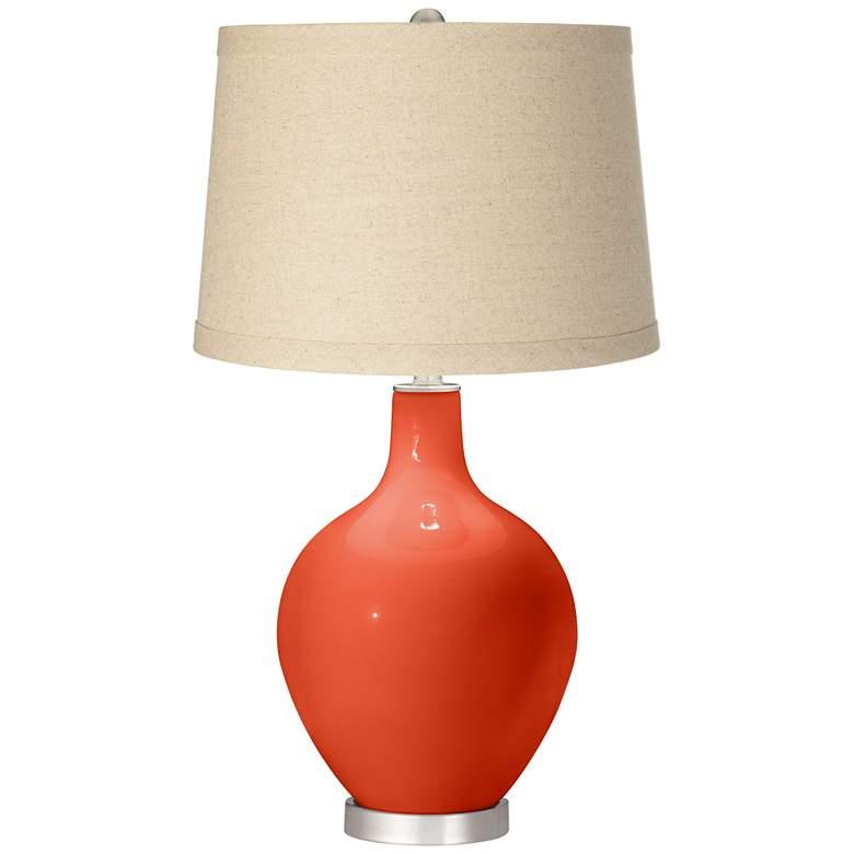 Daredevil Oatmeal Linen Shade Ovo Table Lamp