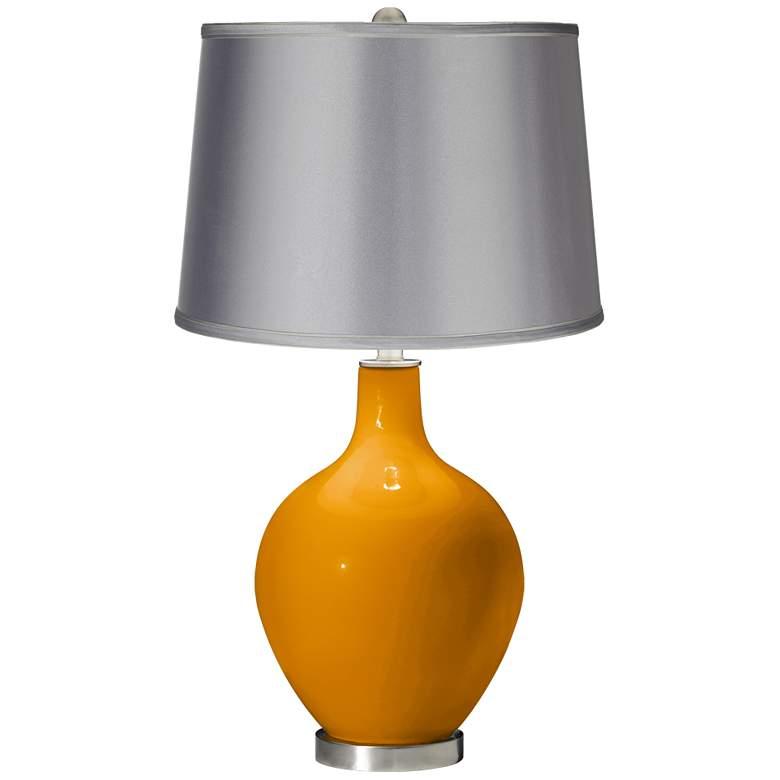 Carnival - Satin Light Gray Shade Ovo Table Lamp
