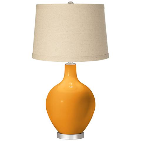 Carnival Oatmeal Linen Shade Ovo Table Lamp