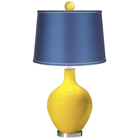 Citrus - Satin Blue Ovo Table Lamp with Color Finial