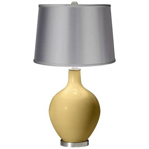 Humble Gold - Satin Light Gray Shade Ovo Table Lamp