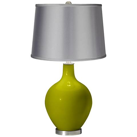 Olive Green - Satin Light Gray Shade Ovo Table Lamp