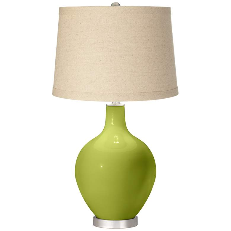 Parakeet  Oatmeal Linen Shade Ovo Table Lamp
