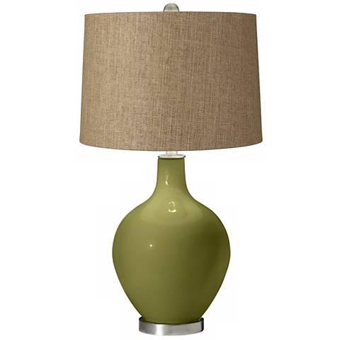 Rural Green Tan Woven Ovo Table Lamp