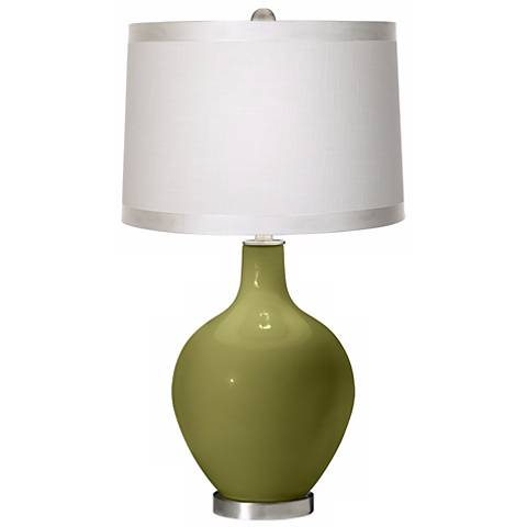 Rural Green White Drum Shade Ovo Table Lamp