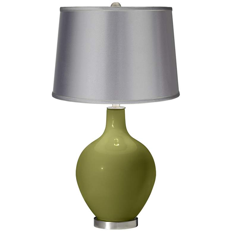 Rural Green - Satin Light Gray Shade Ovo Table Lamp