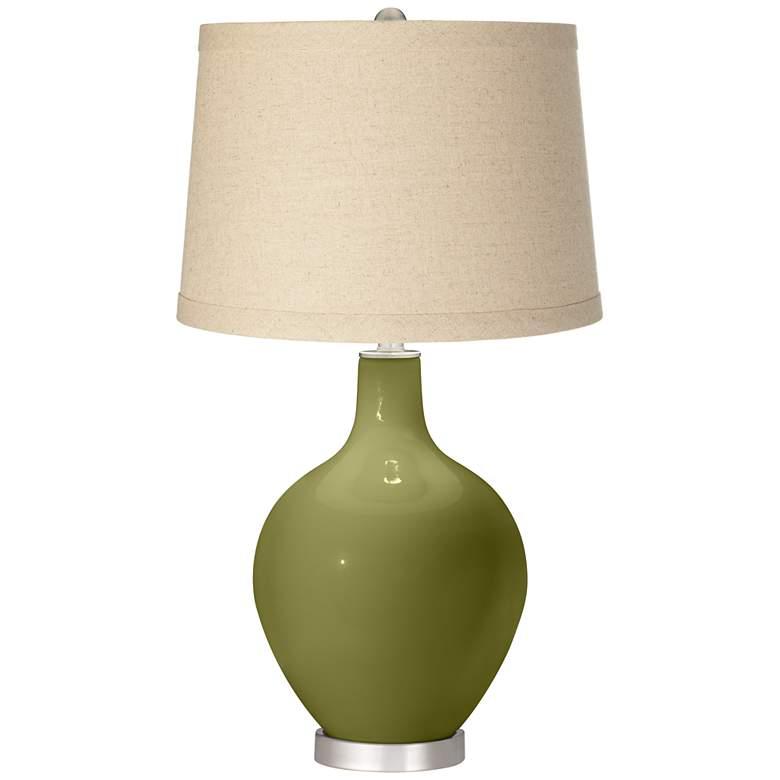 Rural Green Oatmeal Linen Shade Ovo Table Lamp