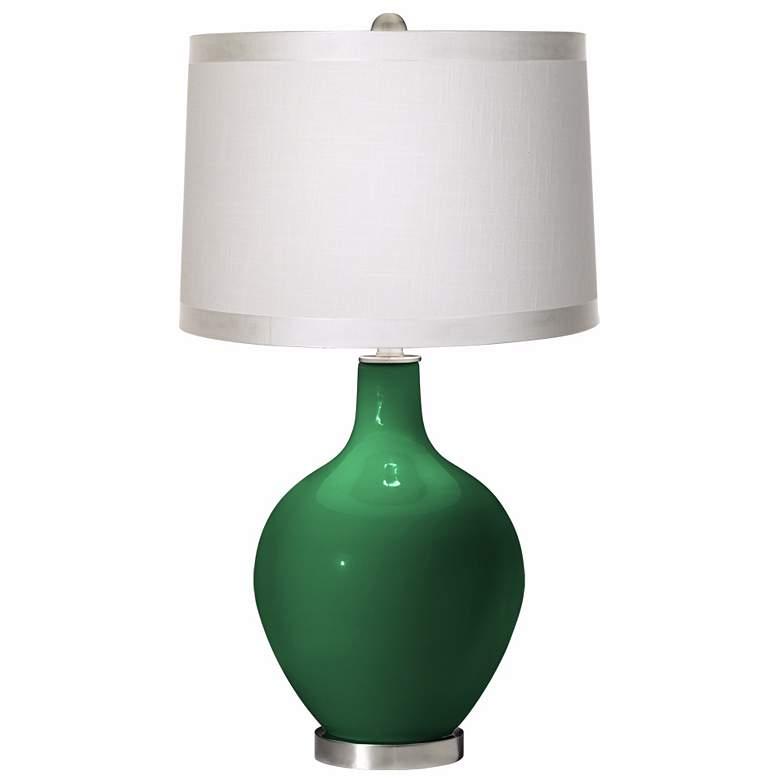 Greens White Drum Shade Ovo Table Lamp